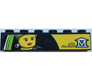 "LEGO Brick 1 x 6 with ""CITY MUSEUM"" and Logo and Female Minifig Head Painting Sticker (3009)"