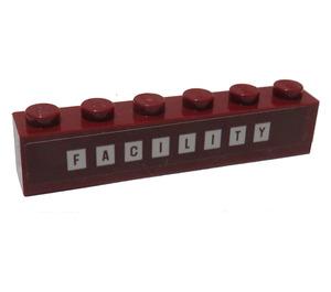 "LEGO Brick 1 x 6 with ""FACILITY"" Sticker (3009)"