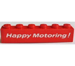 "LEGO Brick 1 x 6 with ""Happy Motoring"" Sticker (3009)"