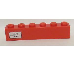 LEGO Brick 1 x 6 with 'Paris - Roma' on Left Side Sticker (3009)