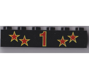 LEGO Brick 1 x 6 with Red and Yellow Stars and 1 Decoration (3009)