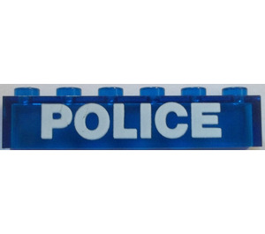 LEGO Brick 1 x 6 without Centre Studs with White Bolded 'POLICE' Pattern (3067)