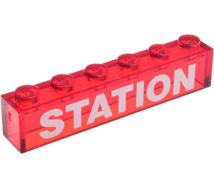 """LEGO Brick 1 x 6 without Centre Studs with White Bolded """"STATION"""" Decoration (3067)"""