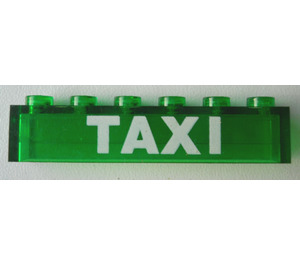 """LEGO Brick 1 x 6 without Centre Studs with White Bolded """"TAXI"""" Decoration (3067)"""