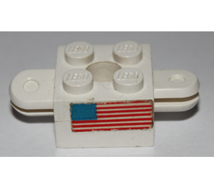 LEGO Brick 2 x 2 Arm Holder with Hole and 2 Arms (Complete) and USA Flag Sticker