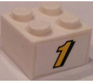 "LEGO Brick 2 x 2 with ""1"" Sticker (3003)"