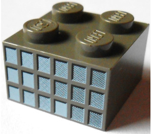 LEGO Brick 2 x 2 with 18 Small Squares (Window Panes) in Fading Grays Pattern on Opposite Sides (3003)