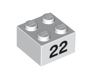LEGO Brick 2 x 2 with '22' (14919 / 97660)