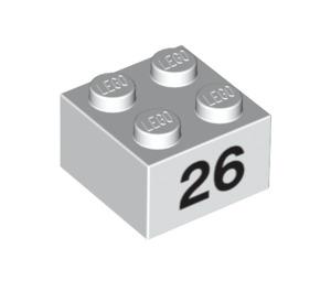 LEGO Brick 2 x 2 with '26' (14935 / 97664)