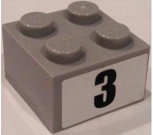 """LEGO Brick 2 x 2 with """"3"""" Sticker (3003)"""