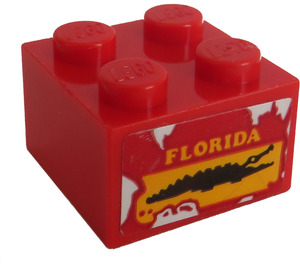 LEGO Brick 2 x 2 with Crocodile and 'FLORIDA' Sticker (3003)