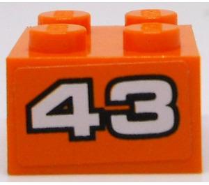LEGO Brick 2 x 2 with n° 43 on orange background Sticker (3003)