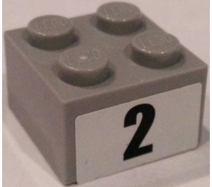 "LEGO Brick 2 x 2 with Number ""2"" Sticker (3003)"