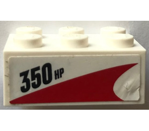 LEGO Brick 2 x 3 with 350 HP and red stripe Sticker (3002)