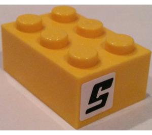 """LEGO Brick 2 x 3 with """"5"""" Sticker (3002)"""