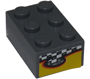 LEGO Brick 2 x 3 with Checkered and Yellow Pattern Sticker (3002)