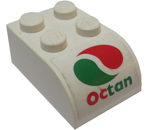 LEGO Brick 2 x 3 with Curved Top with 'OCTAN' logo Sticker (6215)