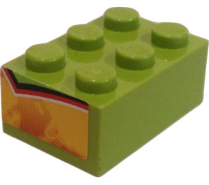 LEGO Brick 2 x 3 with Flames (Both Small Ends) Sticker (3002)