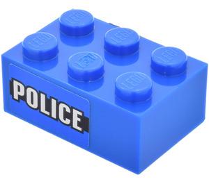 LEGO Brick 2 x 3 with Police (Both Sides) Sticker (3002)