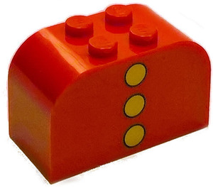 LEGO Brick 2 x 4 x 2 with Curved Top with 3 yellow dots vertical (4744)