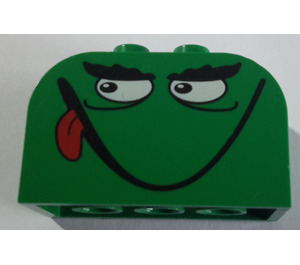 LEGO Brick 2 x 4 x 2 with Curved Top with Monster Face (smile, tongue) (4744)