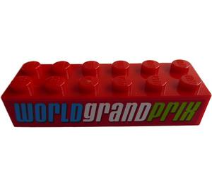LEGO Brick 2 x 6 with 'WORLD GRAND PRIX' Sticker (2456)