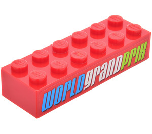 LEGO Brick 2 x 6 with 'WORLD GRAND PRIX' Sticker (2456)