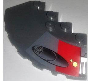 LEGO Brick 6 x 6 Corner Round with Slope 25° (33) Chamfer with Red Square and Launcher Left From set 75001 Sticker (95188)