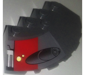 LEGO Brick 6 x 6 Corner Round with Slope 25° (33) Chamfer with Red Square and Launcher Right From set 75001 Sticker (95188)