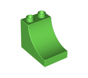 LEGO Bright Green Duplo Brick 2 x 3 x 2 with Curved Ramp (2301)