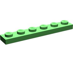 LEGO Bright Green Plate 1 x 6 (3666)