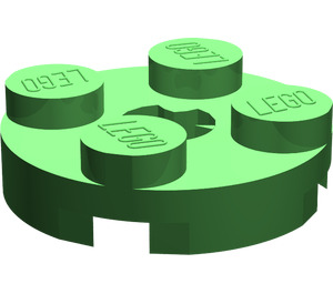 LEGO Bright Green Plate 2 x 2 Round with Axle Hole (with 'X' Axle Hole) (4032)