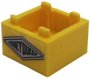 LEGO Bright Light Orange Box 2 x 2 Bottom with Honeydukes in Diamond Sticker