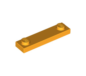 LEGO Bright Light Orange Plate 1 x 4 with Two Studs without Groove (92593)