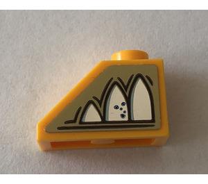 LEGO Bright Light Orange Slope 45° 1 x 2 with Mirror of Erised Ornament Pattern left side Sticker