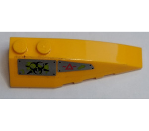 LEGO Bright Light Orange Wedge 2 x 6 Double Right with Caution Triangle, Biohazard Symbol Sticker