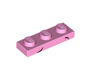LEGO Bright Pink Plate 1 x 3 with Decoration (20728)