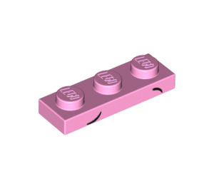 LEGO Bright Pink Plate 1 x 3 with Eyebrows in black (20728)