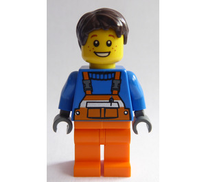 LEGO Brown Hair, Freckles, Open Smile with Orange Overalls with Straps Minifigure
