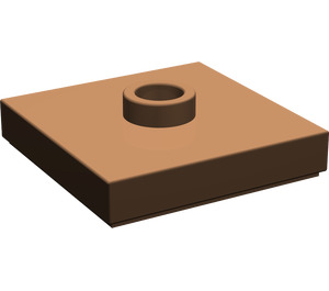LEGO Brown Plate 2 x 2 with Groove and 1 Center Stud