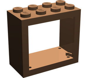 LEGO Brown Window 2 x 4 x 3 with Rounded Holes (4132)