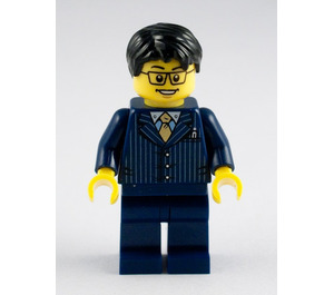 LEGO Business Man with Dark Blue Pin Striped Suit Minifigure