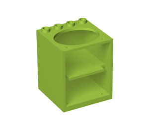 LEGO Cabinet 4 x 4 x 4 with Sink Hole with Door Holder Holes (6197)