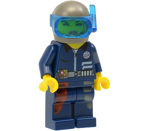 LEGO Cam with Blue, Red, and White Legs, Scuba Top, Dark Gray Helmet, and Transparent Blue Snorkel Visor Minifigure