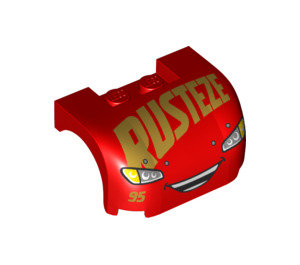 LEGO Car Mudguard 3 x 4 x 1.667 Curved with Smiling Rusteze and Headlights (33787 / 38224)