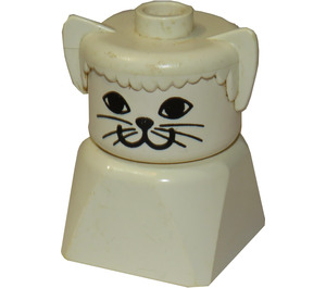 LEGO Cat on White Base with White Face Minifigure