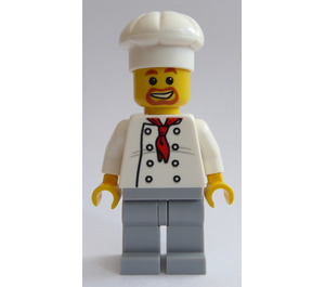 LEGO Chef with Red Scarf and 8 Buttons Vest, Brown Beard and Medium Stone Legs Minifigure