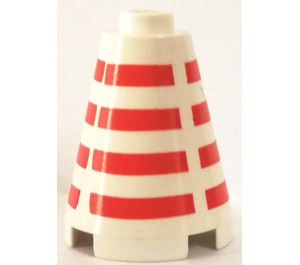 LEGO Cone 2 x 2 x 2 with Horizontal Red Stripes Pattern (Open Stud) (3942)