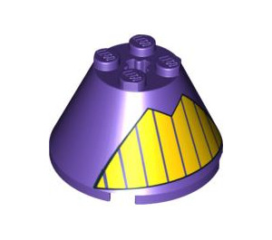 LEGO Cone 4 x 4 x 2 with Decoration with Axle Hole (3943 / 88128)