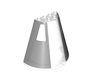 LEGO Cone 8 x 4 x 6 Half with spaceship wall Paneling  (35681 / 47543)